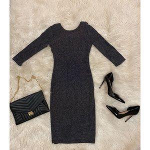 Black Long Sleeve Silver Shimmer Dress